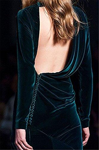 Evening V Sleeves Dresses Dresses Velvet Black CCBubble Neck Mermaid Long Prom 1q4A4T8n