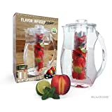 Blikzone Flavor Infuser Water Pitcher- Acrylic BPA Free - Include 2 Free Cores: 1 Infuser Core for Fruit, Herb, Tea and 1 Ice Core to keep your Beverages, Sangria and Vodka Cool. Cap. 2.5 Liters