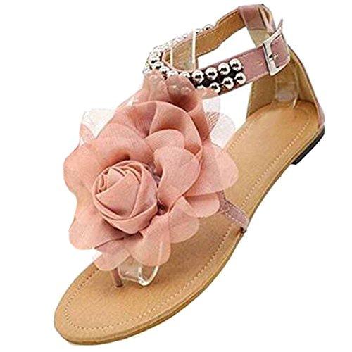 hibote Mode Gladiator Frauen Bohemia Beaded Sommer Blume Flat Heels Flip Flops Weiblich Schuhe T straps Sandalen Rosa