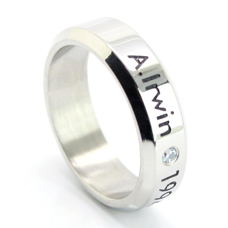 Amazoncom Fanstown Irwin handmade titanium birthday ring