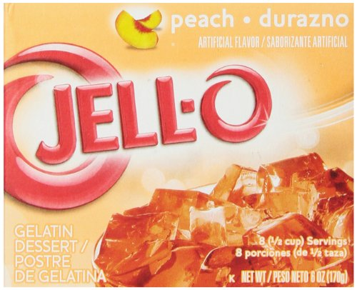 JELL-O Peach Gelatin Dessert Mix (6 oz Boxes, Pack of 6)