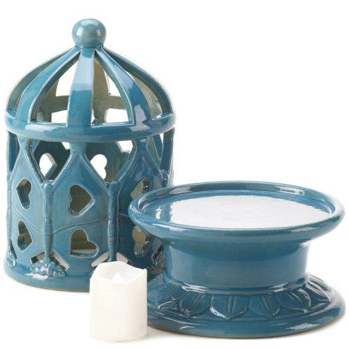 Ceramic Blue Lantern With LED (Birdhouse Lantern Candle)