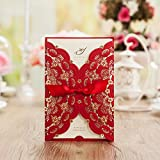 Wishmade 100X Red Color Gold Foil Laser Cut Lace Wedding Invitations Cards Engagement Birthday Party Bridal Shower Invitations CW5113