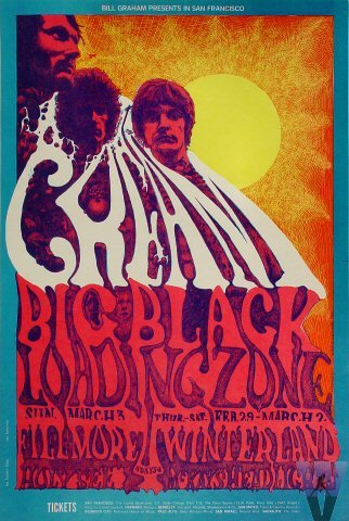 Cream with Eric Clapton Fillmore Poster