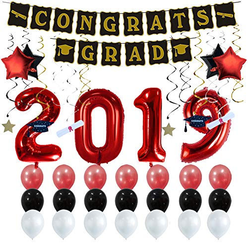 Graduation Party Supplies 2019 Graduation Party Decorations Graduation Banner Congratulations Banner Hang Swirls and Black & Red 2019 Balloons