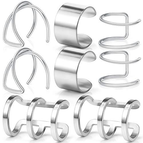 Lcolyoli Ear Cuff Cartilage Earrings Surgical Steel Fake Clips On Earrings for Women Girls Non Piercing Faux Helix Earring 4 Pairs Set Silver-Tone