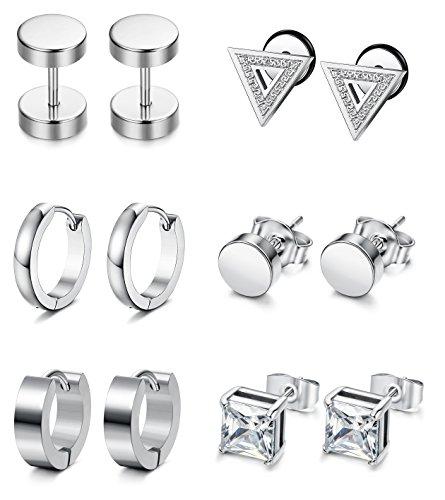 (Besteel 6 Pairs Stud Earrings Hoop Earrings for Men Women Stainless Steel Huggie Earrings Set,Sliver-tone)