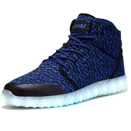 Coodo Hombre Mujer Niños Zapatos Led 7-color-lights Carga Usb Light Up Sneakers 3-black / Blue