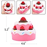 Aolige Jumbo Squishies Cute Strawberry Double Cake Kawaii Cream Scented Very Slow Rising Decompression Squeeze Party Toys for Baby