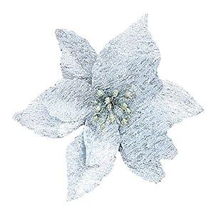 Hanobo 20 Pcs Gold Glitter Artificial Flowers Christmas Tree Wreaths Ornaments 5 Inch 5