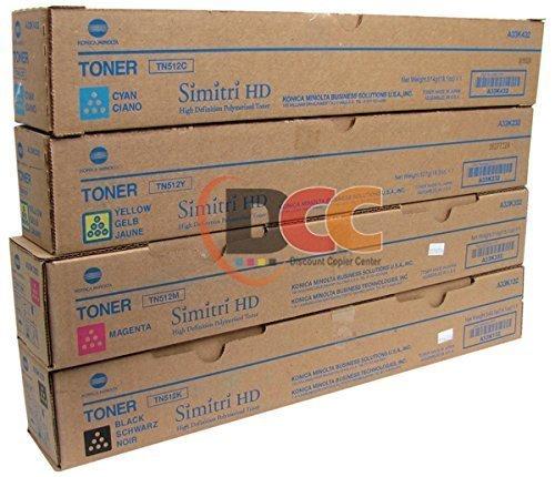 Konica Minolta TN-512 CYMK Toner Cartridge Set for Bizhub C454 C554