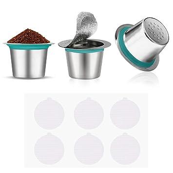 Cápsulas de café reutilizables de acero inoxidable, 3 unidades, filtro de café expreso con 60 tapas de aluminio autoadhesivas para máquinas de café ...