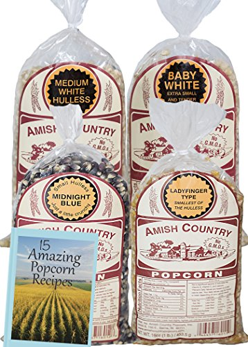 Amish Country Popcorn - 4 (1) Lb Variety Bundle with Recipe Guide - Baby White Popcorn, Medium White Popcorn, Ladyfinger Popcorn and Midnight Blue Popcorn - Old Fashioned, Non GMO, and Gluten Free