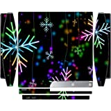 Neon Snowflakes Snowflake Playstation 3 & PS3 Slim Vinyl Decal Sticker Skin by Moonlight Printing