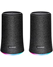 Anker Soundcore Flare Portable Bluetooth 360 Speaker [2-PACK] - All-Round Sound - Wireless Stereo Pairing - Enhanced Bass & Ambient LED Light - IPX7 Waterproof Rating - Black