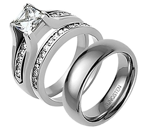 Stainless Steel CZ His and Hers Wedding Ring Sets Tungsten Men's Band SPJ Women Sz-8 & Men Sz-12