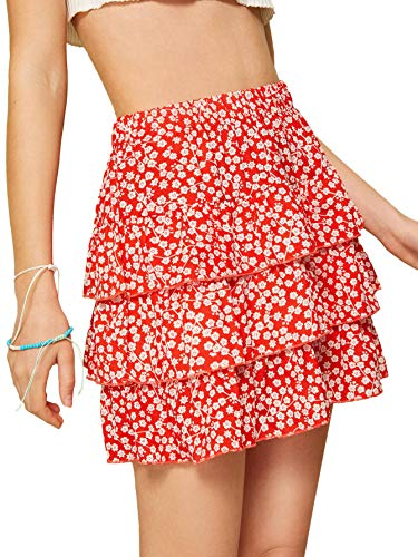 WDIRARA Women's Ditsy Floral Print Tiered Layer High Waist Ruffle Mini Skirts Red M ()