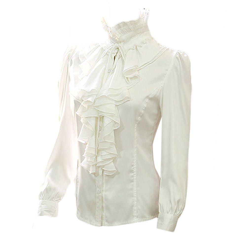 Nanxson Mujer Retro Encaje Mangas largas Camisa Blusa