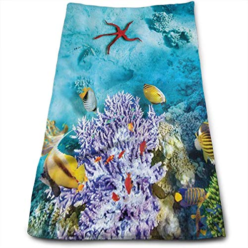 Exotic Coral Reef (Tropical and Exotic Coral Reefs Fish School Multi-Purpose Microfiber Towel Ultra Compact Super Absorbent and Fast Drying Sports Towel Travel Towel Beach Towel Perfect for Camping, Gym, Swimming.)