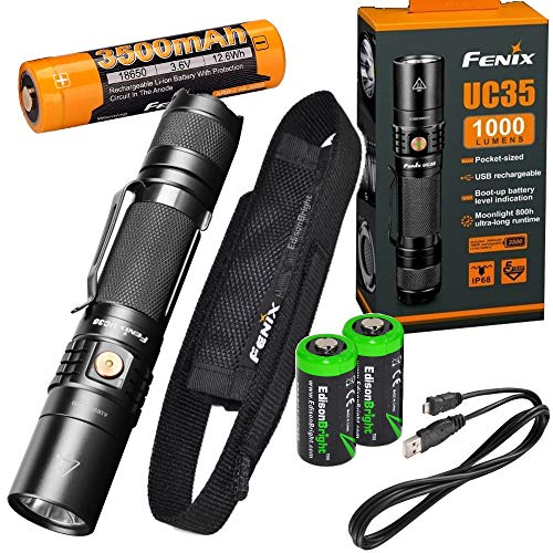 FENIX UC35 V2.0 2018 upgrade USB Rechargeable 1000 Lumen CREE LED Flashlight, 3500mAh rechargeable battery, USB charging cable with 2 X EdisonBright CR123A back-up batteries bundle