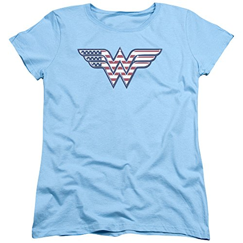 Trevco Wonder Woman DC Comics American Flag Justice League America Women's Adult Graphic Tee T-Shirt (Large) ()