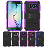 Galaxy S6 Edge Case, HLCT Rugged Shock Proof Dual-Layer PC and Soft Silicone Case With Built-In Kickstand for Samsung Galaxy S6 Edge (2015) (Purple)