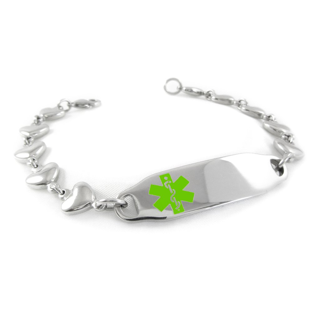 My Identity Doctor – Pre-Engraved Customized Women s Dementia Medical ID Bracelet, Heart Chain Lime Green Made in USA