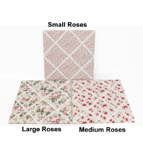 Fusion Square Floral (Sifcon Roses Square Padded Fabric Kitchen Office Message Note Memo Pin Board (Small Roses))