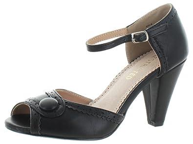 Restricted Dorothy T-Strap Peep Toe Dress Heels Pumps Shoes Vintage,5.5 B(