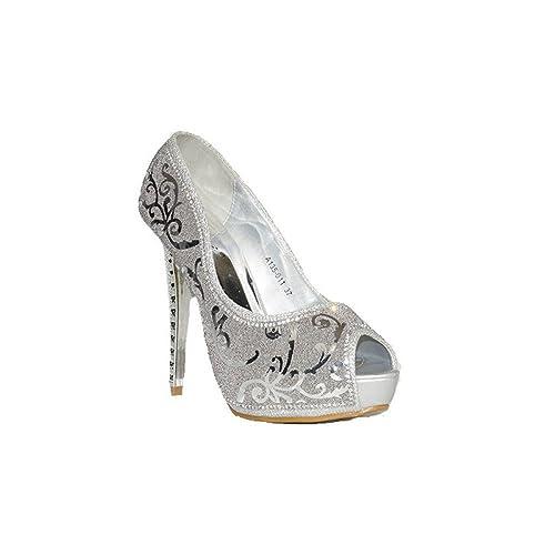QUNHUI QUNHUI Gliter Decorado A135-011 Zapatos Fiesta Mujer con Tacón Plata Plateados Moda Cómodos con Plataforma Elegantes Noche: Amazon.es: Zapatos y ...