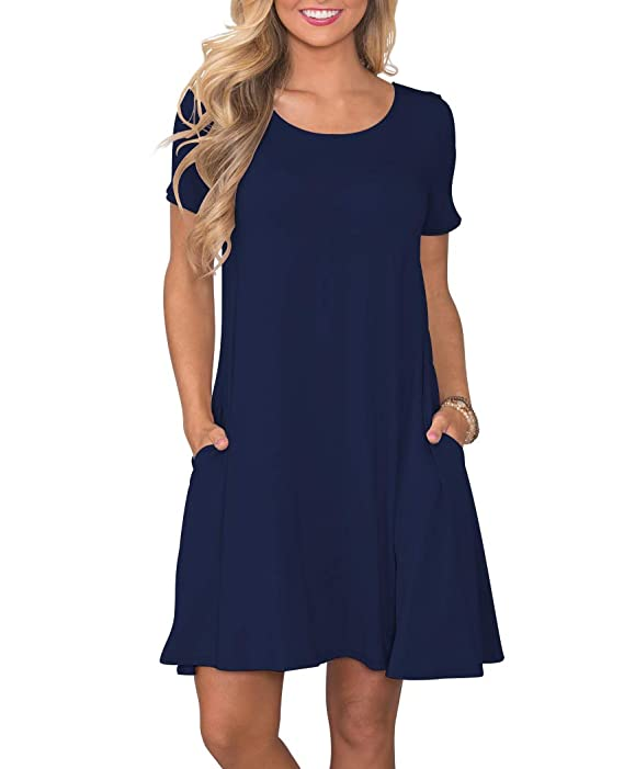 KORSIS Women's Summer Casual T Shirt Dresses Short Sleeve Swing Dress with Pockets NavyBlue L