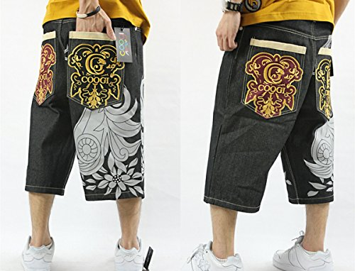 a8c35f3403 on sale QBO Men's Rhino Hip-hop Embroidery Loose Denim Short Baggy Jeans