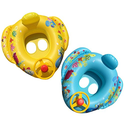 Gbell Swimming Float Seat Boat - Baby Swim Ring - Pool Inflatable Safe Raft Kids Water Car For 2-10 Years Old Kids Baby Toddlers Infants, Inner - 26Cm,Outer - 75Cm (Assorted Lounger)
