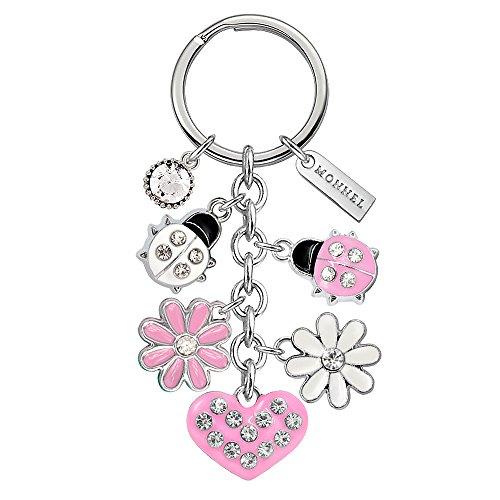 Pink Heart Keychain - Monnel Brand New Pink Ladybug Heart Flowers Keychain with Velvet Bag Z519-E