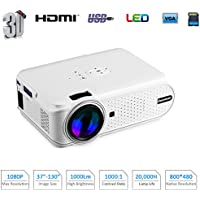 Excelvan Portable Mini LED Projector 1080p Support Multimedia Home Cinema Theater Projector (White)
