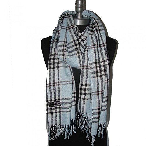 Blue_(US Seller)Women Men Tartan Plaid cape scarf Fashion