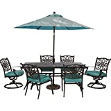 Cheap Hanover Traditions 7 Piece Dining Set with 72 x 38 Cast-top Table Umbrella and Stand