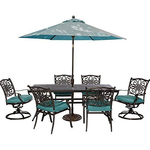 Hanover TRADDN7PCSW-B-SU Traditions 7 Piece Dining Set with 72 x 38 Cast-top Table Umbrella and Stand Outdoor Furniture, ()