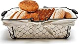 Mkono Bread Basket Metal Wire Basket with Removable Liner, Great for Bread, Snacks, Household Items, Kitchen Storage,13 x 9 x 4.2 Inches