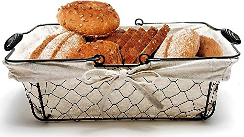 Bread Basket Liner - Mkono Bread Basket Metal Wire Basket with Removable Liner, Great for Bread, Snacks, Household Items, Kitchen Storage,13 x 9 x 4.2 Inches