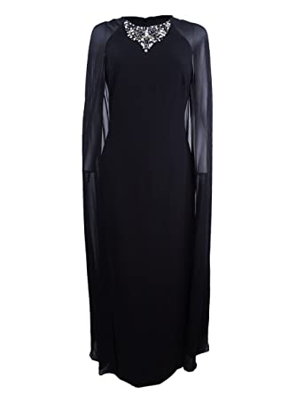 0120fac17212 Image Unavailable. Image not available for. Color  Vince Camuto Womens  Embellished Cape Semi-Formal Dress Black 4