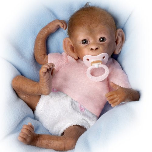 Coco So Truly Real® Lifelike, Realistic Newborn Baby Monkey Doll 16-inches by The Ashton-Drake Galleries (Monkey Baby Doll)