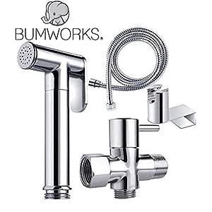 Bumworks Handheld Bidet Cloth Diaper Sprayer for Toilet   Bum Gun Butt Washer, Hand Held Bidet Hose Attachment Water Jet Spray Set   Baday Toilet Kit (Bedit Toilet Badae Biday Boday Toilet Seat)