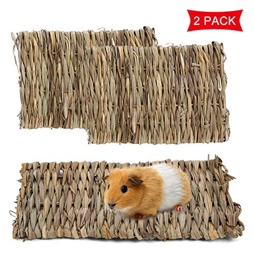 Rabbit Grass Mat, Natural Pet Hay Mat, Bunny Bed Mat for Small Animal, Safe & Edible Woven Grass Chew Toy Resting Pad for Guinea Pig Parrot Rabbit Bunny Hamster