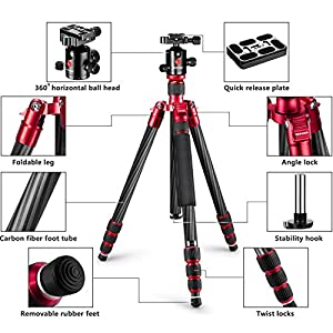 "Neewer Carbon Fiber 63""/160cm Tripod Monopod with 360 Degree Ball Head,1/4""Quick Shoe Plate,and Bubble Level Including Carrying Bag for DSLR Camera,Video Camcorder,Load Capacity 33lbs/15kg"