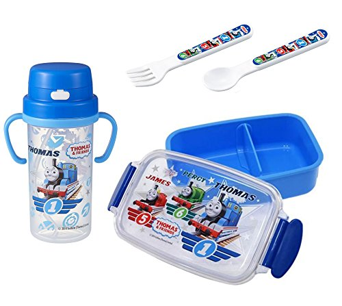 4 Thomas the Tank Engine Products - Lunch (Bento) Box, Thermos with Handles, Spoon and Fork (Japan Import) Thomas The Tank Engine Spoon