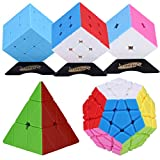 Dreampark 5 Pack Stickerless Magic Speed Cube Pyraminx, Megaminx, 2x2x2, 3x3x3, Mirror Cube Puzzle Set Bundle with Extra Stand- Perfect Puzzle Box for Kids, teens, and adults