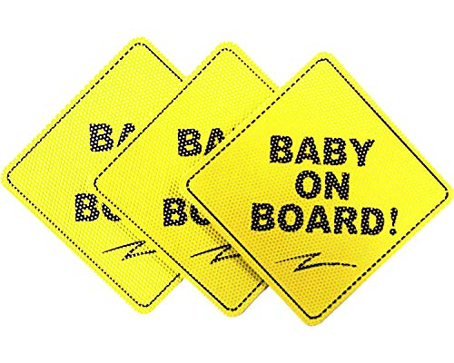 Baby on Board Sticker Sign (3 Packs), See Through When Reversing, Baby Car Sticker, Baby Car Decal, Baby Announcement Board, US Department of Transportation Recommend Color & Shape, Kid Safety, 5