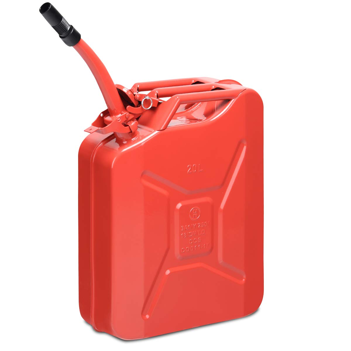 Goplus 20 Liter (5 Gallon) Jerry Fuel Can with Flexible Spout, Portable Jerry Can Fuel Tank Steel Fuel Can, Fuels Gasoline Cars, Trucks, Equipment (Red) by Goplus