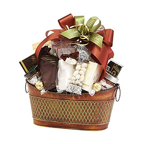 Lina Epicure Roxborough Crisscross Design and Ring Handles Metal Gourmet Gift Basket